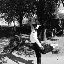 Image of B+W photo of girl dancer rehearsing offstage at Humanities Festival Week activities, Church Square Park, Hoboken, October, 1999. - Print, Photographic