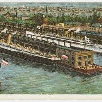 Image of Three-panel foldout postcard: North German Lloyd S.S. Co. Piers at Hoboken, N.J. - Postcard