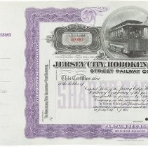 Image of Stock Certificate: Jersey City, Hoboken And Paterson Street Railway Company.  - Certificate, Stock