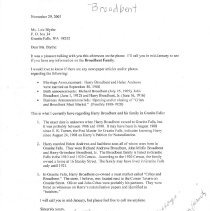 Image of Letter requesting information on Broadbent family
