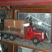 Image of Mack flatbed truck with lumber