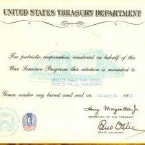 Image of US Treasury Certificate
