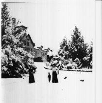 Image of 2001.05.42 - Mrs. Anker Miller at Greystone after snowstorm January 1907