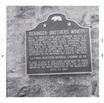 Image of 1973.6.28b - Historical Landmark, Beringer Brothers Winery