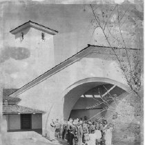 Image of Visitors outside the Mondavi Winery.