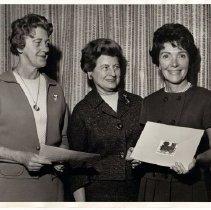 Image of 2011.61.2387 - Nancy Reagan, Mrs. Joe Holthaus, left, and Mrs. John B. Ghisolfo ca. 1967.