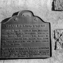 Image of 2013.2.82 - Historical Landmark plaque at Charles Krug Winery