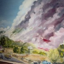 Image of 2014.2.170 - Painting of the Atlas Peak Fire
