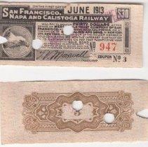 Image of 1983.14.10 - San Francisco, Napa and Calistoga Railway Ticket Template.