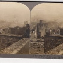 """Image of 2016.24.4 - """"Ruined Area, Ferry Bldg. and Goat Island, N. E. from Fairmont Hotel on Nob Hill, San Francisco, 1906"""""""