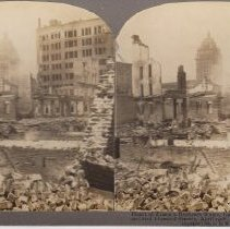 """Image of 2016.24.6 - """"Heart of Frisco's Business Ruins, Call and Rialto Bldgs, from 2nd and Howard Streets, April 1906"""""""