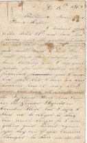 Image of second letter from  friend in Baton Rouge 1862 b.) page 1 L2012.34.23