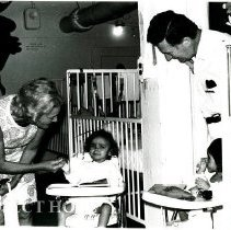 Image of Mrs. Paul Felix Warburg with Dr. Alex Randall in Pediatrics