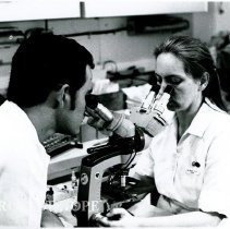 Image of June Collier with a six-year medical student (can't identify.