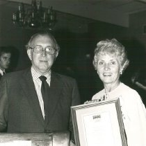 "Image of Mrs. Helen Walsh with first ALumni Association Award, Dr. ""Red"" Diskan"