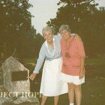 Image of June 1987 Helen Walsh & Carol Fredriksen at Spring Bridge Dedication