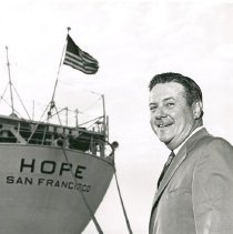Image of Dr. Walsh by the SS HOPE