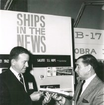 Image of Dr Walsh with Dignitaries - SS HOPE model ship