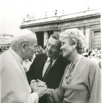 Image of Pope John Paul II meeting Dr. and Mrs. Walsh at the Vatican.