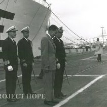 Image of Richard Nixon in front of the SS HOPE At ship dedication