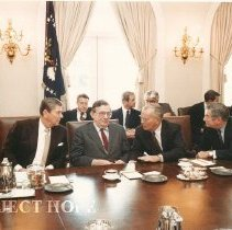 Image of Dr Walsh with Dignitaries - Meeting at White House with President Reagan