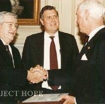 Image of Dr Walsh with Dignitaries - Dr. Walsh, Bill Walsh and ?