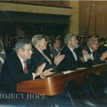 Image of Dr. Walsh, ?, C. Everet Coop, ?, WHO Meeting, Geneva Switzerland