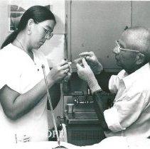 Image of Dr. Voris, neurosurgeon and Agnes Fee, radiographer