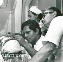 Image of Dr. Miller, far right, HOPE dentist on rotation #4 with counterpart