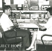 Image of Dave and Lois Veasey in the (Ham) Radio Station