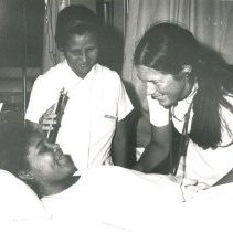 Image of Leslie Hagen with counterpart and patient