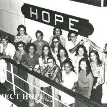 Image of Staff and volunteer interpreters on deck of the SS HOPE