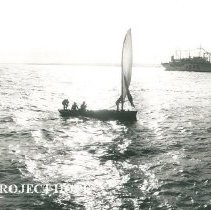 Image of Fishing boat in foreground as SS HOPE arrives in Maceio