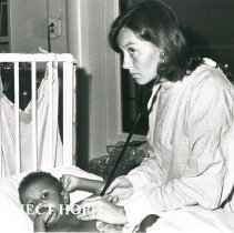 Image of Janet Lipp, nurse, with patient