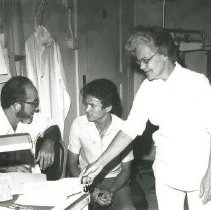 Image of Dr Harry Owens, staff Dr, and Charlotte MacDonald, nurse, in sickbay