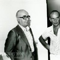 Image of Bob Petit, hospital administrator, on right with unknown