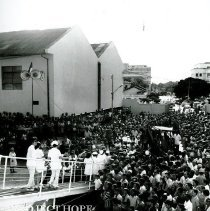 Image of SS HOPE arrival in Natal Brazil Ash Wednesday at 6am 1972