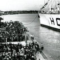 Image of SS HOPE docking in Natal, Brazil, 1972 Ash Wednesday