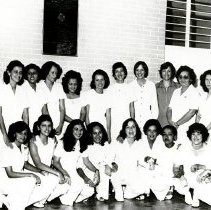 Image of Barb Allen Pinto, nurse, with Judy Seoldo and student nurses