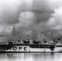 Image of SS HOPE at dock in Maceio, Brazil, 11th medical teaching-treatment mission