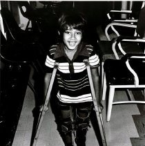 Image of New crutches are part of the cure for this young boy in Maceio.