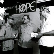 Image of Dr. Wells, Mr. C. Burton, John Schaaf at Barbados' first Health Exhibition