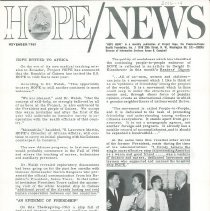 Image of Newsletters - HOPE/NEWS November/1963