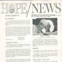 Image of Newsletters - HOPE/NEWS November-December/1964