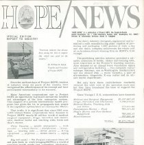 Image of Newsletters - HOPE/NEWS Special Edition Report to Industry April 1965