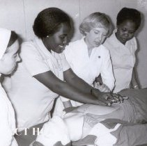 Image of Sr. Mary of Imbaba Cardiothoracic Institute, with 2 Sudanese students, Nanc