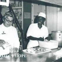 Image of Dietitian Helen Gallagher in diet kitchen on SS HOPE Jamaica Voyage IX.