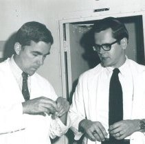 Image of Dr Poley and Dr Patrick Moore, Opthamologists, in Jamaica Voyage IX.