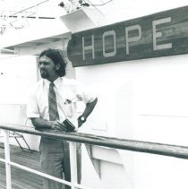 Image of Thomas Artzner, med student, aboard the SS HOPE in Jamaica Voyage IX.