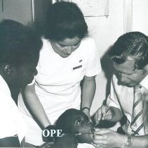 Image of Dr Donald Carlsen and Lynda Manzo in Dental clinic Jamaica Voyage IX.